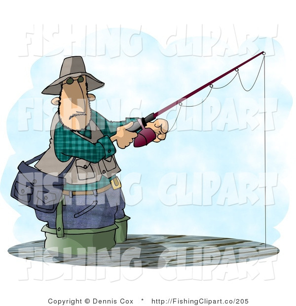 Clip Art of a Man Fishing in a Lake
