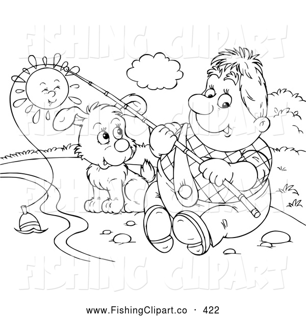 Clip Art of a Man Fishing with His Cute Dog