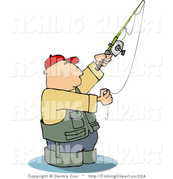 Clip Art of a Man in Wading Boots Wading in Water While Fishing