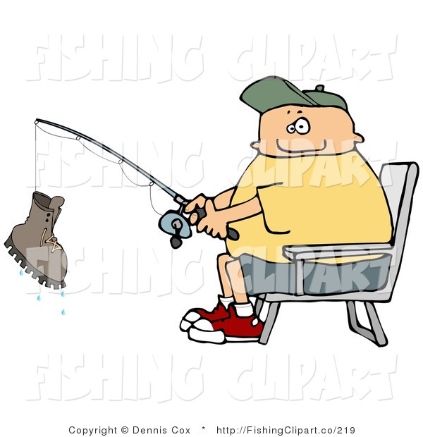 Clip Art of a Man Reeling in a Boot on His Fishing Rod