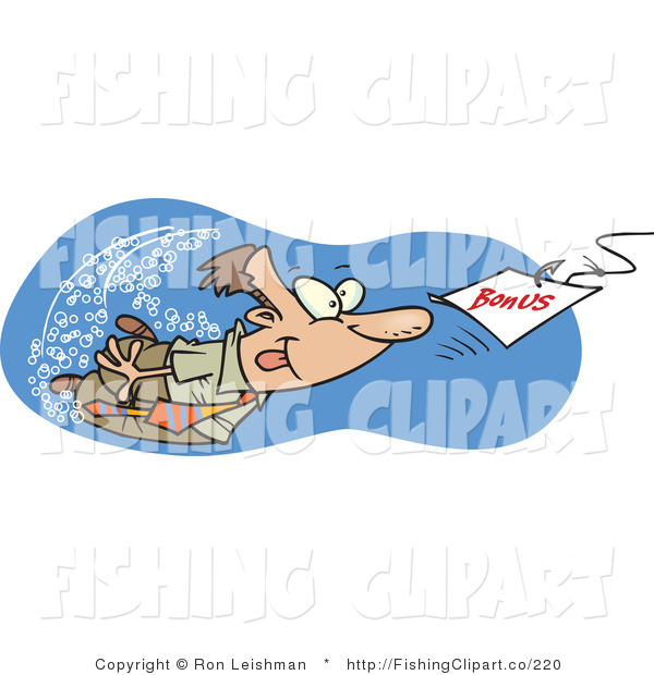 Clip Art of a Man Swimming After a Bonus