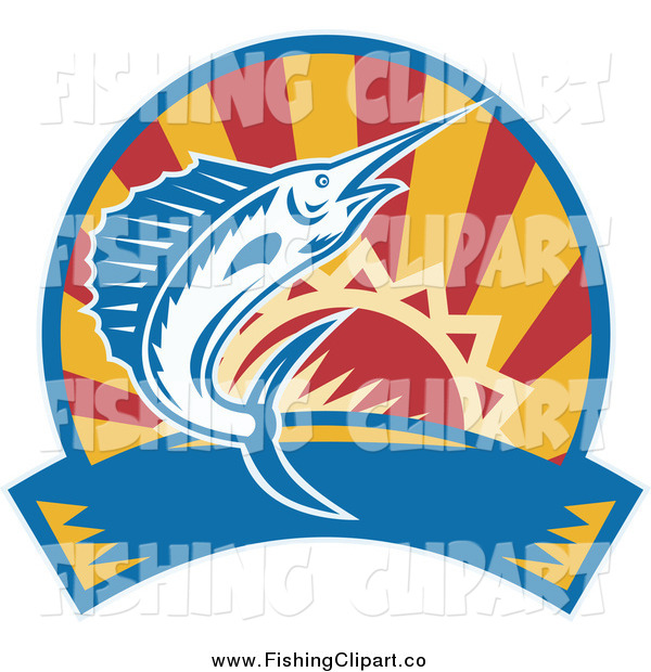 Clip Art of a Marlin Jumping over a Sunset Circle and Banner