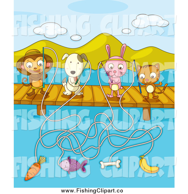 Clip Art of a Monkey, Dog, Rabbit, and Cat Fishing with Different Bait off of a Dock