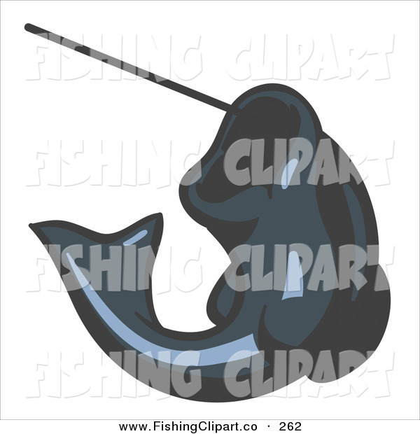 Clip Art of a Navy Blue Trout Fish Jumping up and Biting a Hook on a Fishing Line