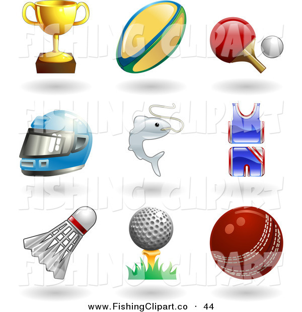 Clip Art of a Nine Trophy Cup, Rugby Ball, Ping Pong Paddle and Ball, Helmet, Fish, Uniform, Shuttlecock, Golfball on Tee and a Cricket Ball