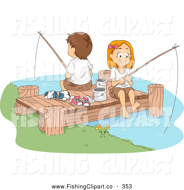 Clip Art of a Pair of Cute Summer Camp Kids Fishing on a Dock