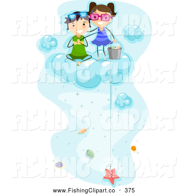 Clip Art of a Pair of Kids Fishing for Sea Shells up on a Cloud