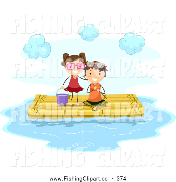 Clip Art of a Pair of Stick Kids Fishing on a Bamboo Raft