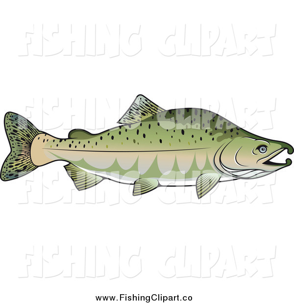 Clip Art of a Pink Salmon Fish in Profile