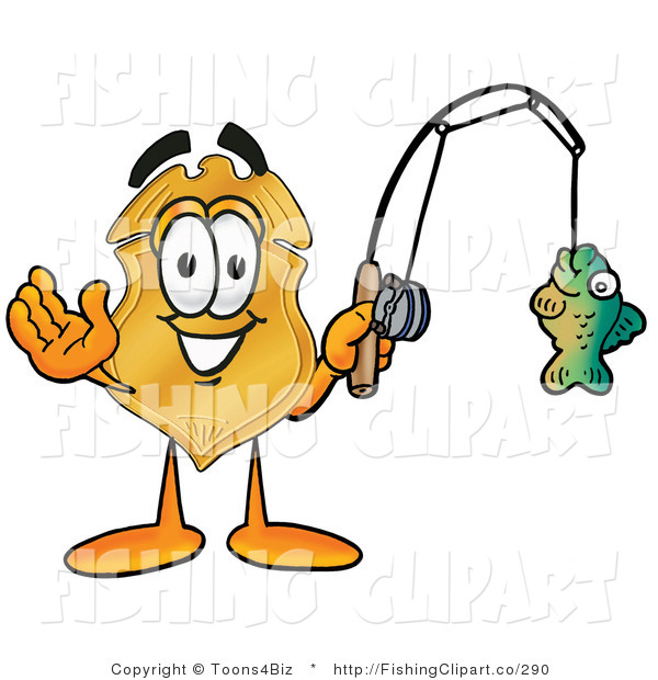Clip Art of a Police Badge Mascot Cartoon Character Holding a Fish on a Fishing Pole