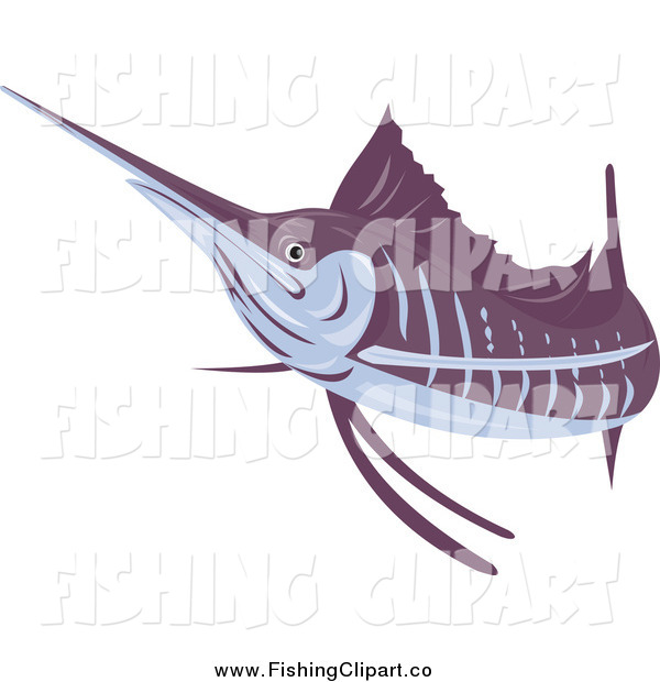 Clip Art of a Purple and Gray Sailfish
