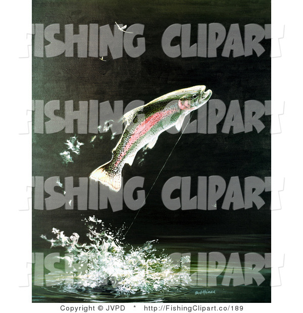 Clip Art of a Rainbow Trout Fish Jumping out of the Water After Biting a Fishing Hook on a Fisher's Line