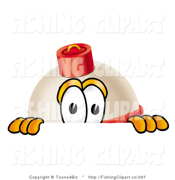 Clip Art of a Red and White Fishing Bobber Mascot Cartoon Character Peeking over a Surface