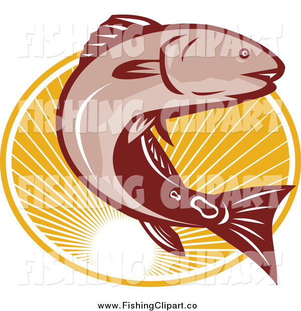 Clip Art of a Red Drum Bass Fish Jumping over an Oval of Rays