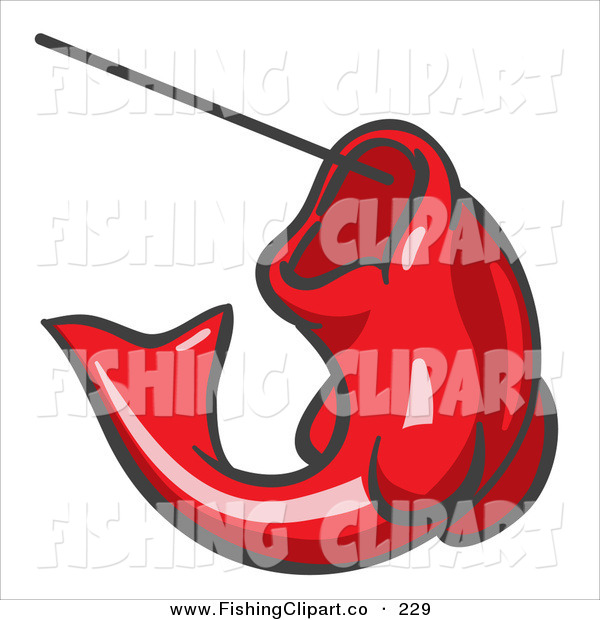Clip Art of a Red Trout Fish Jumping up and Biting a Hook on a Fishing Line
