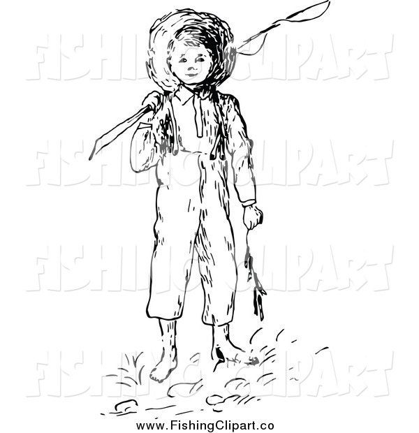 Clip Art of a Retro Black and White Boy with a Fishing Pole