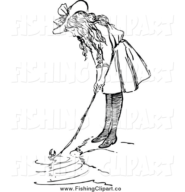 Clip Art of a Retro Black and White Girl Fishing