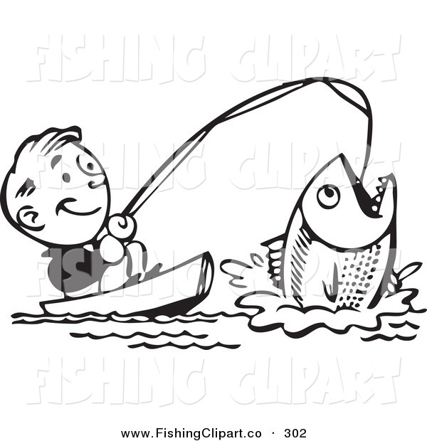 Clip Art of a Retro Black and White Man Catching a Giant Fish and Smiling