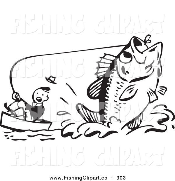 Clip Art of a Retro Black and White Man Pulling up a Giant Fish