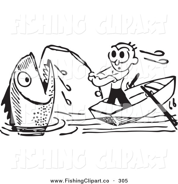 Clip Art of a Retro Black and White Man Reeling in a Giant Fish on White