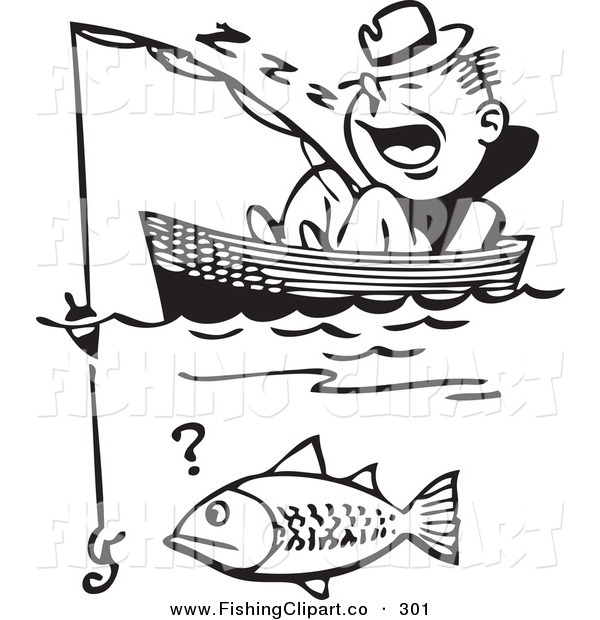 Clip Art of a Retro Black and White Man Sleeping in a Boat Missing Catching a Fish