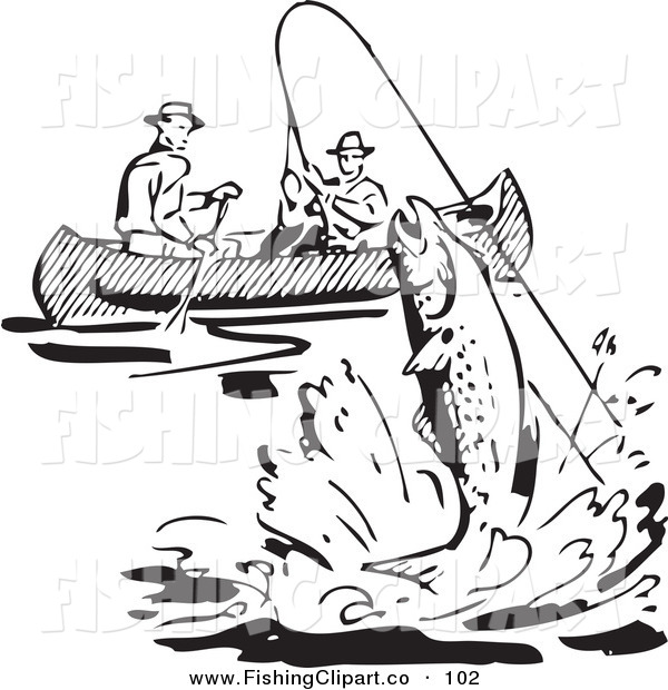 Clip Art of a Retro Black and White Men Fishing in a Boat, a Fish Leaping Nearby