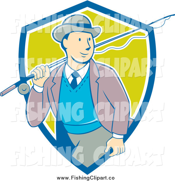 Clip Art of a Retro Cartoon White Male Tourist Carrying a Fly Fishing Rod over His Shoulder in a Blue White and Green Shield