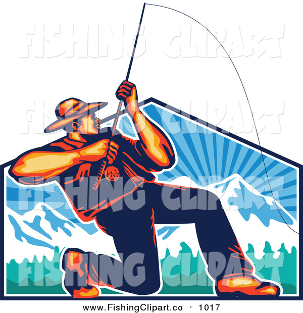 Clip Art of a Retro Fly Fisherman Casting and Reeling over a Mountains Shield
