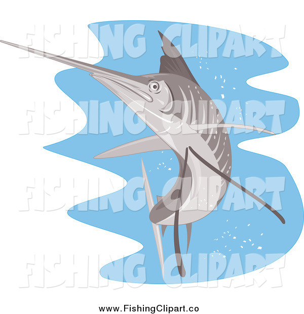 Clip Art of a Retro Sailfish over Water