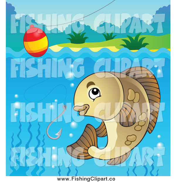 Clip Art of a River Fish, Hook and Bobber