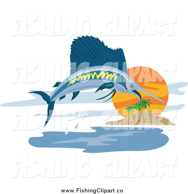 Clip Art of a Sailfish Leaping near an Island