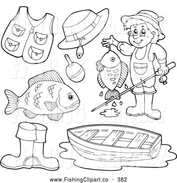 Clip Art of a Set of Coloring Page Outlined Fishing Items Digital Collage