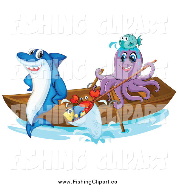 Clip Art of a Shark and Octopus with Fish in a Boat