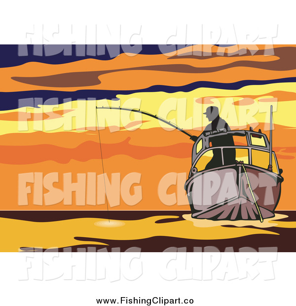 Clip Art of a Silhouetted Fisherman on a Boat Against a Sunset