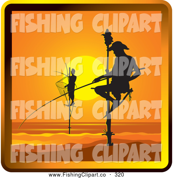 Clip Art of a Silhouetted Pole Fishermen in Sri Lanka