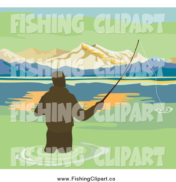 Clip Art of a Silhouetted Wading Fisherman on a Lake