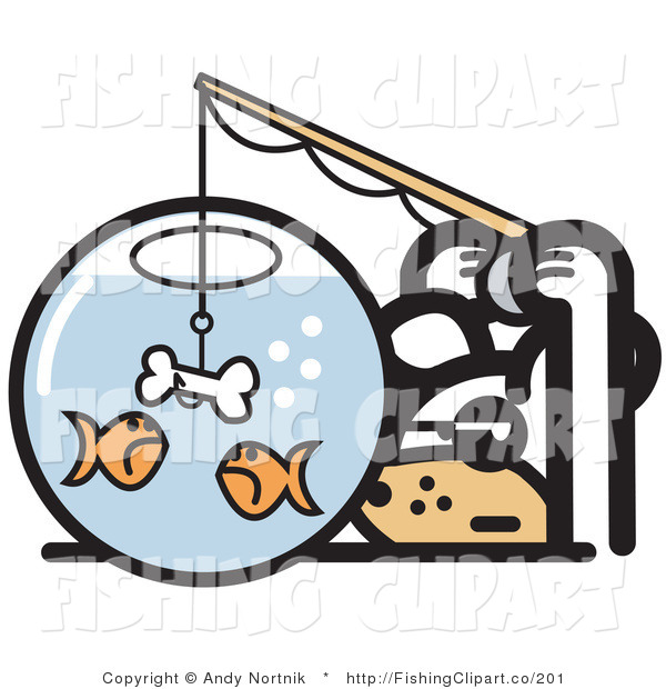 Clip Art of a Silly White Dog Trying to Catch Goldfish in a Bowl with a Dog Bone on a Hook