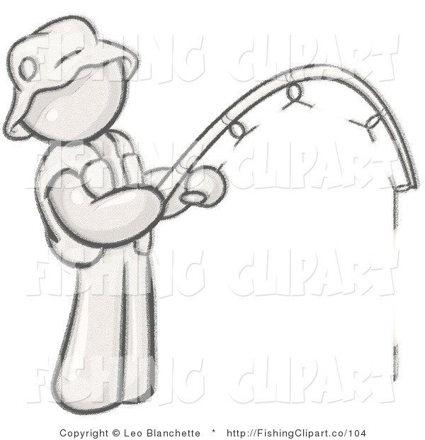 Clip Art of a Sketched Design Mascot Fisherman Wearing a Hat and Vest and Holding a Fishing Pole