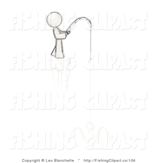 Clip Art of a Sketched Design Mascot Man Fishing on a Cliff