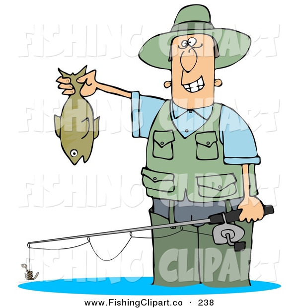Clip Art of a Smiling Man Wading in Water and Holding His Fishing Rod and CatchSmiling Man Wading in Water and Holding His Fishing Rod and Catch