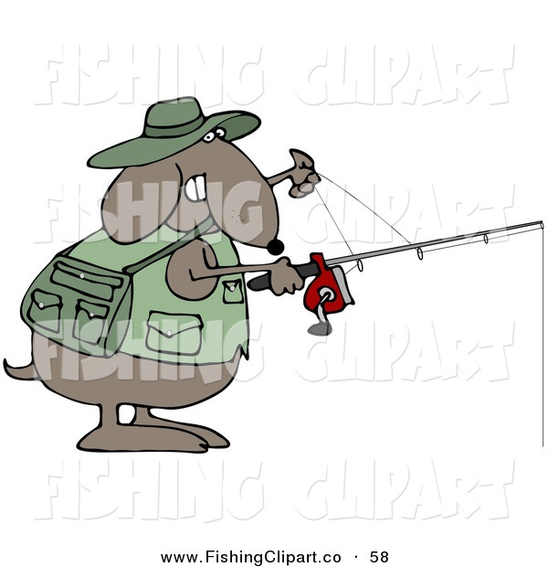 Clip Art of a Sporty and Outdoorsy Brown Dog in a Vest, Holding a Fishing Pole