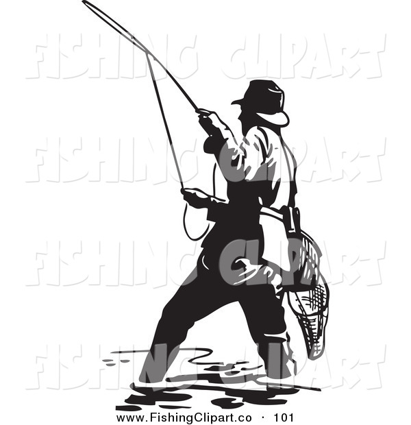 Clip Art of a Sporty Black and White Wading Fisherman Casting a Line