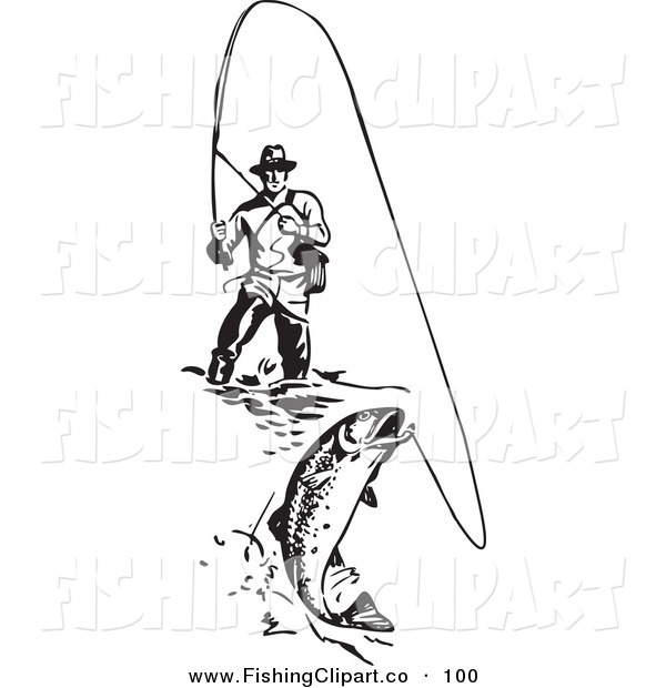 Clip Art of a Sporty Black and White Wading Fisherman Reeling in a Fish