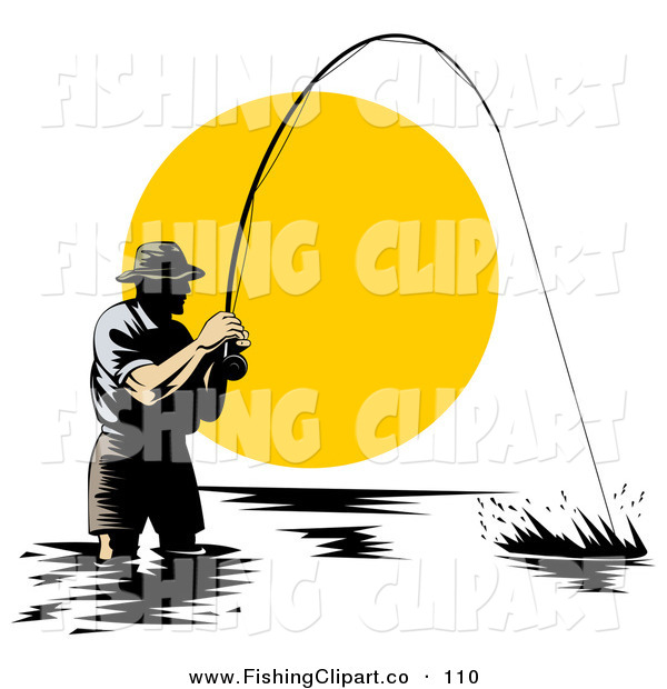 Clip Art of a Sporty Wading Fisherman Reeling in a Strong Fish at Sunset