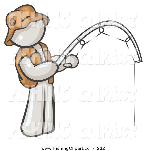 Clip Art of a Sporty White Man Wearing a Hat and Vest and Holding a Fishing Pole