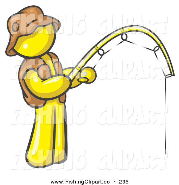 Clip Art of a Sporty Yellow Man Wearing a Hat and Vest and Holding a Fishing PoleSporty Yellow Man Wearing a Hat and Vest and Holding a Fishing Pole