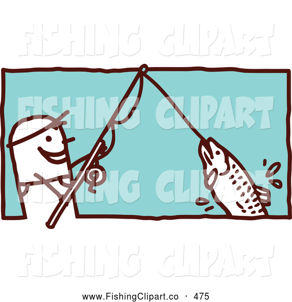 Clip Art of a Stick Figure Man Reeling in a Fish on a Pole