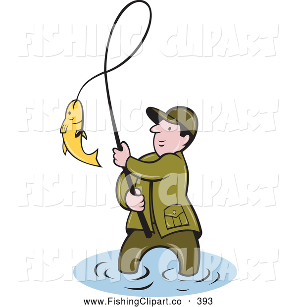 Clip Art of a Successful Wading Fisherman Bringing in His Catch by ...