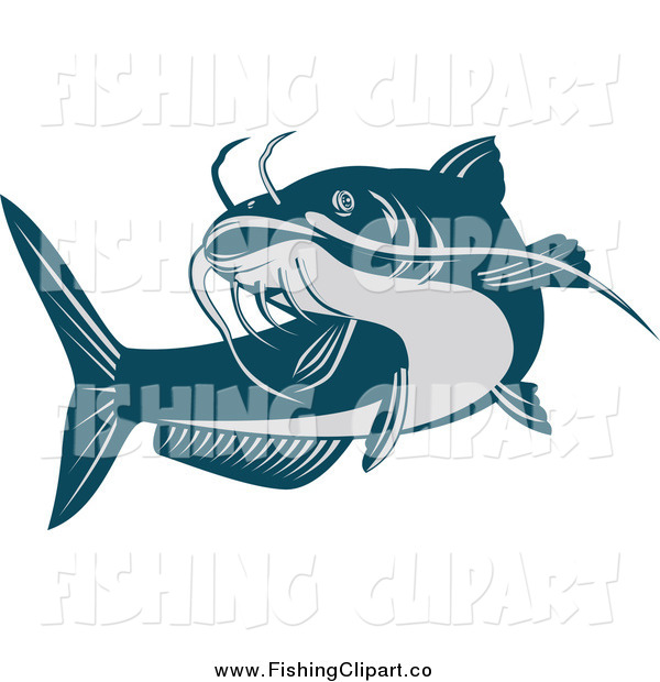 Clip Art of a Swimming Blue Catfish
