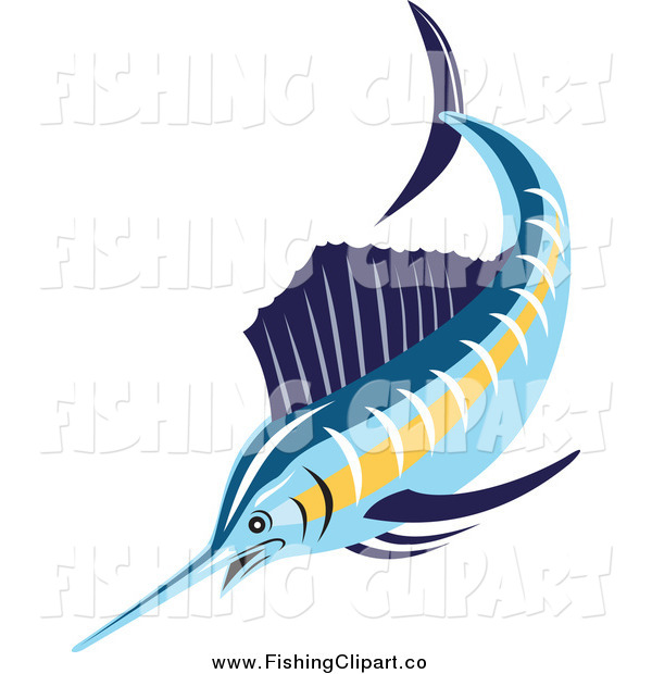 Clip Art of a Swimming Sailfish